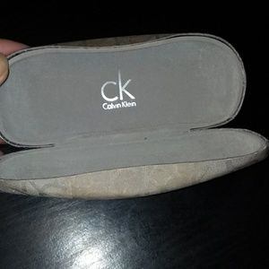Calvin Klein gray sateen logo eye glass holder